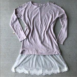 LC Lauren Conrad // Blush Lace Trim Tunic